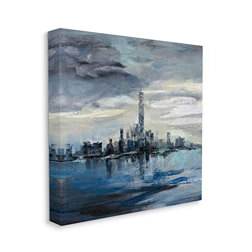 Stupell Industries Storm Cloud City Scape Building Skyline Blue Grey Painting, Designed by Silvia Vassileva Wall Art, 36 x 36, Canvas