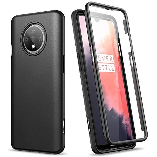SURITCH Kompatibel mit OnePlus 7T Hülle Stylisch Muster 360 Grad Handyhülle mit integriertem Displayschutz Schutzhülle Robust Cover für One Plus 7T (Schwarz)