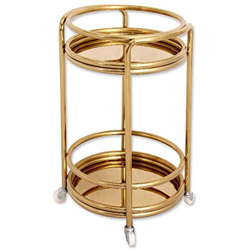 MHBGX Multifunction Portable Hand Trucks,Trolleyserving Cart Kitchen Trolley Island Cart 2 Tier Frame Round Utility Cart Handle Guard Rails Universal Wheels Commercial, 3 Sizes,A-40 X 68 cm