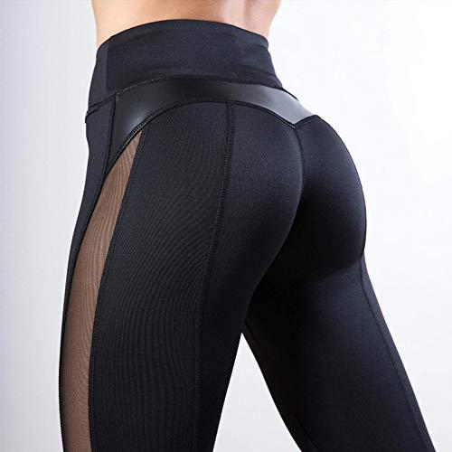 CKUZI 3D-Druck Yoga-HosenMode Mesh Leggings Frauen Fitness Legging PU Leder Hosen Leggins Herz Workout Leggings Femme Leggings