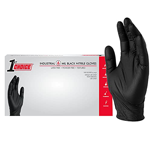 1st Choice Industrial Black Nitrile Gloves, Box of 100, 6 Mil, Size Large, Latex Free, Powder Free, Textured, Disposable, Non-Sterile, 1PBNLBX
