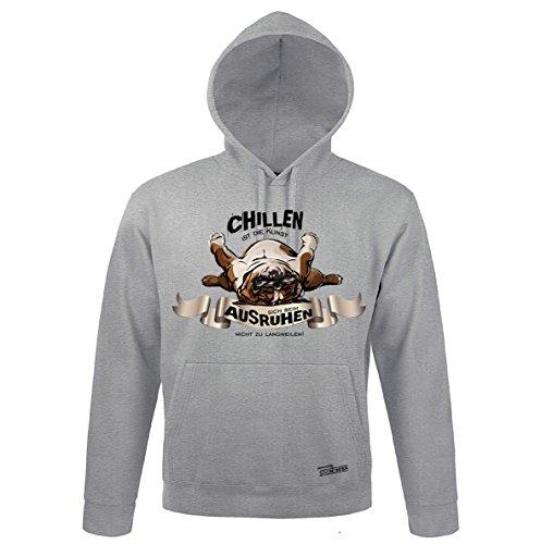 Siviwonder Unisex Kapuzen Sweatshirt Englische Bulldogge chillen Wilsigns Heather Grey 3XL