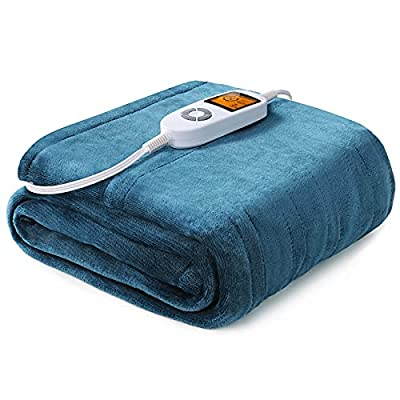 """Sable Heated Blanket Electric Throw, 50"""" x 60"""" Full Body Size Fast Heating Blankets Flannel, 10 Heating Levels 3 Hours Auto-Off ETL Certified Machine Washable (Blue) (SA-BD038) by Sable"""
