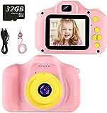 Fotocamera per Bambini Fotocamera Digitale Portatile con Scheda SD 32 GB TF Card HD da 2 Pollici 1080P Mini Ricaricabile Videocamera per Giocattoli Regalo Ragazzi Ragazze da 3 a 12 Anni (Rosa)