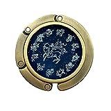 Gancho redondo para bolso de horóscopo con diseño de luna, azul y zodíaco, para joyas, cúpula de cristal, PU333
