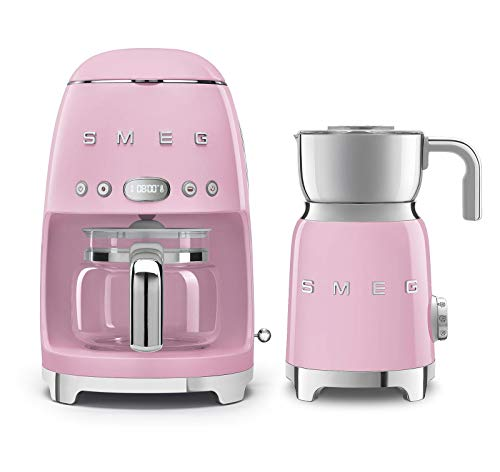 Smeg DCF02US 50's Retro Style Drip Filter Coffee Maker Bundle with Smeg MFF01 Milk Frother (Pastel Pink)