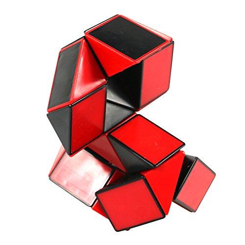 FCBB 24 Teile Snake Cube Lineal 3D Puzzle Snake Puzzle Twisty Puzzle Rätsel für Kinder Party Füllstoffe Big Size (Schwarz und Rot)