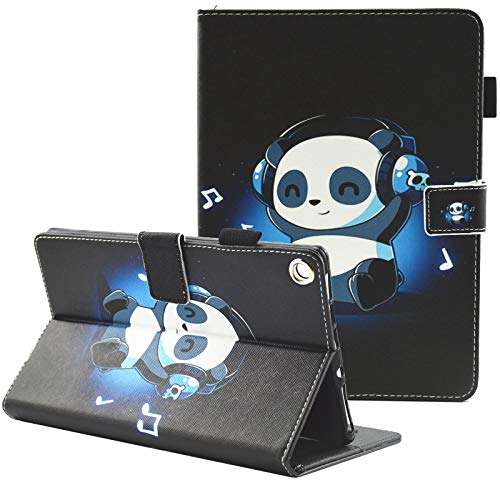 Case for Kindle Fire HD 8 Old Model (Fits 2018 2017 2016 Version, 8th/7th/6th Gen),Not Fit New HD 8 10th Gen 2020 Tablet, Fvimi PU Leather Folio Smart Cover with Auto Wake/Sleep, Music Panda