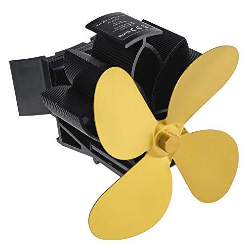 Kaminlüfter 4 Flügel Herdventilator Leise Wärme Selbstbetriebener Ventilator Kaminventilator Holzofenventilator Für Holz/Holzofen/Kamin (Size:One Size; Color:Gold)