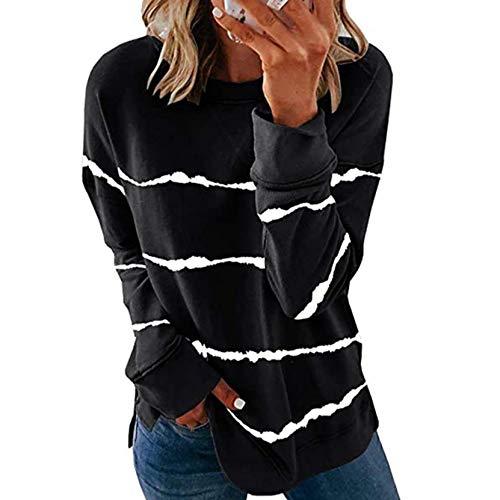 LangfengEU Camisetas de Mujer con Pintura de Rayas a la Moda, Transpirable, cómodo, antipilling, Suave, Diario, Diario, para Interiores, Camisetas sucintas