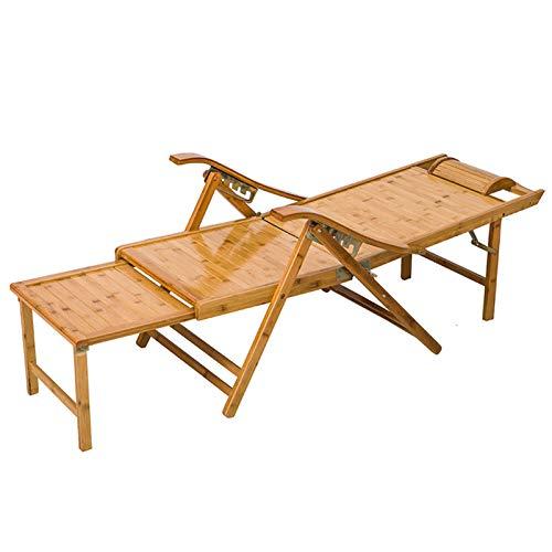 LINGZE Tumbona de jardín al Aire Libre Tumbona reclinable, sillón de bambú Plegable para Patio o Playa, balcón