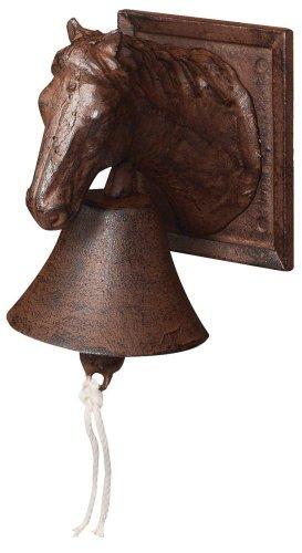 Esschert Design Türglocke mit Klöppel, Türklingel mit Motiv Pferd aus rötlichem Gusseisen, ca. 12 cm x 17 cm x 19 cm