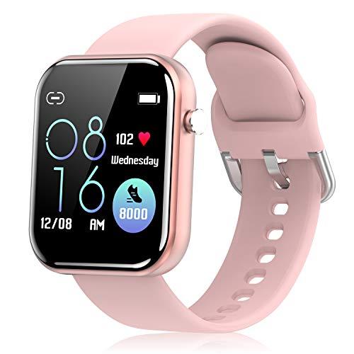 Smartwatch Donna Uomo Orologio Fitness, Activity Tracker con Touchscreen Contapassi Conta Calorie Sleep Cardiofrequenzimetro da Polso Cronometro Smartband per Android iOS (Rosa)