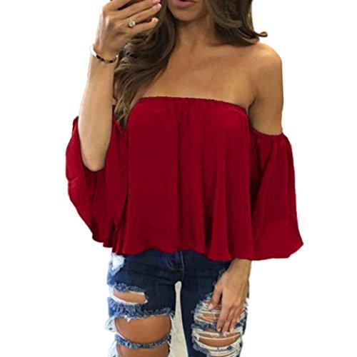 Sommer T-Shirt Damen Kurzes Oberteil Kurze Blusen Tunika Off-Schulter Rundhals Für Mädchen Frauen (Rot B, M)
