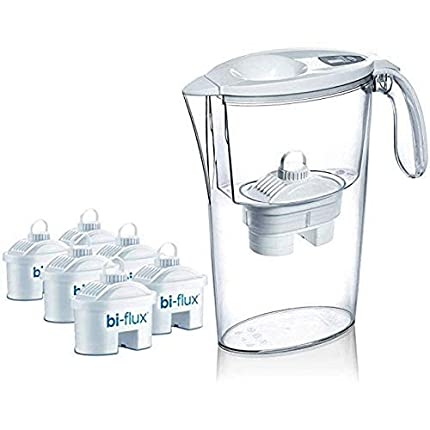 Pack de 6 filtros Laica bi-flux + 1 jarra de regalo. El filtro bi-flux reduce la cal y el cloro, mejorando el sabor del agua del grifo, dura 150 litros/1 mes, compatibles con las jarras Brita y otras
