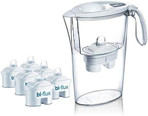 Pack de 6 filtros Laica bi-flux + 1 jarra de regalo. El filtro bi-flux reduce la cal y el cloro, mejorando el sabor d...