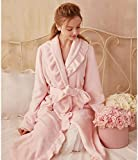Damen Bademantel Herbst Winter Sleepwear Flanell Robe Verdickte Rüsche Pyjamas Damen Bademäntel Nachthemd Dressing Kleid Loungewear, Rosa, S