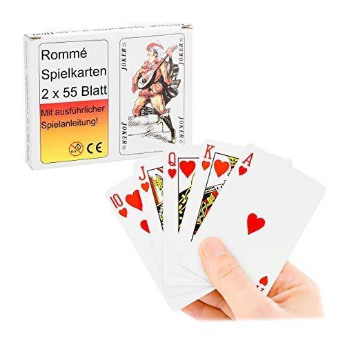 Relaxdays 10024282 Rommé, Spielkarten 2 x 55, Canasta, Bridge, Poker Karten, französisches Blatt, Kartenspiel Set, Mehrfarbig