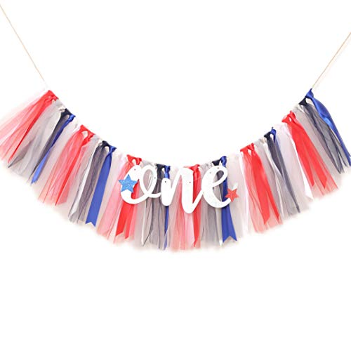 WAOUH Patriotic Stars Banner for 1st Birthday - Highchair Banner for First Birthday Decoration, Cake Smash Photo Prop, Tulle Garland Banner (Red White and Blue)