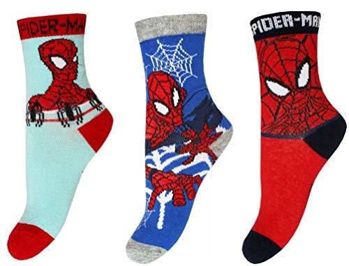 Coole-Fun-T-Shirts SPIDERMAN 9 Paar Socken Jungen Strümpfe Gr.31/34 Kindersocken Kinderstrümpfe