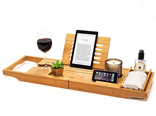 Luxury Bamboo Bath Tray - Wooden Bathtub Caddy and Breakfast Tray with Ipad/Tablet Holder - Phone Holder and Wine Glass slots - Candle/Glass Holder - Bath Shelf Rack - Perfect Bathroom Accessories
