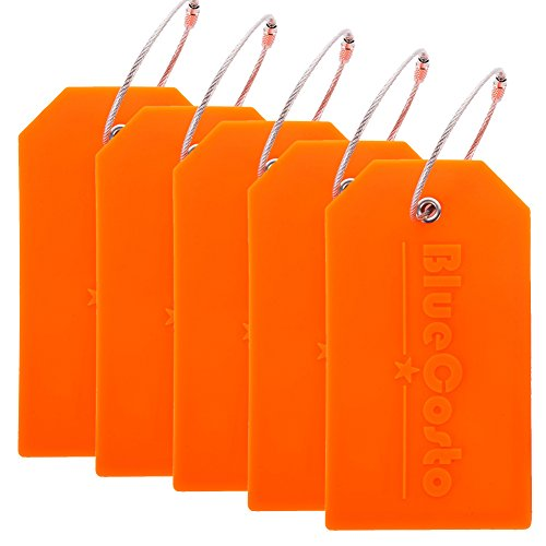 BlueCosto 5x Luggage Tags Suitcase Tag Travel Bag Labels w/Privacy Cover - Orange
