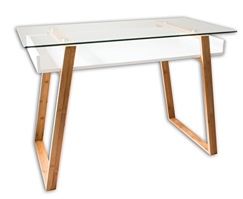 bonVIVO Writing Desk Massimo - Home Office Desk of Glass and Bamboo Wood,White Writing Desk with Bamboo Legs and White Glazed Shelf, Usable As Computer Desk, Office Desk or Glass Desk for Home Office