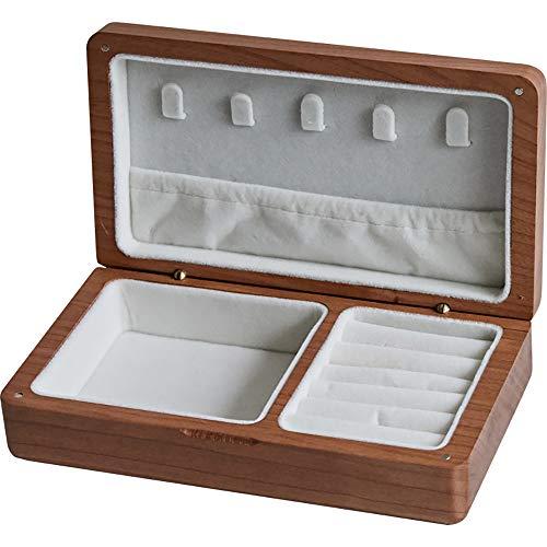 Joyero magnético portátil, caja de almacenamiento de joyas de madera para anillos, pendientes, collar, organizador de joyas pequeño, regalo para mujeres, niña, esposa, madre, novia