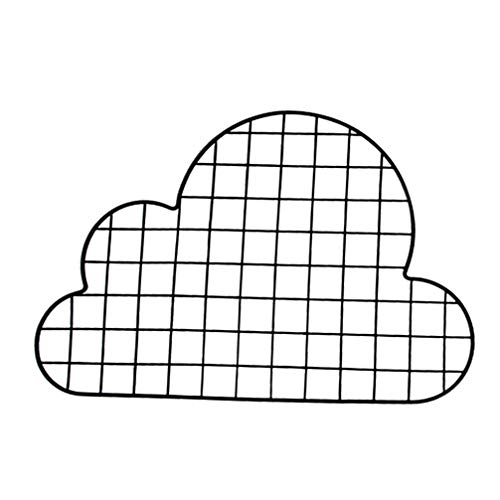 BESPORTBLE Grid Wall Panel, Cloud Shaped Iron Photo Rack - 21 x 14In Photo Hanging Display - Wall Storage Organizer for Storage Book, Photo, Decorations, Crafts, Collections