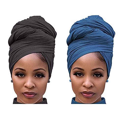 Harewom 2 Pieces Headwrap Scarf for Women Long Head Wrap Scarves Large African Turban Jersey Hair Tie