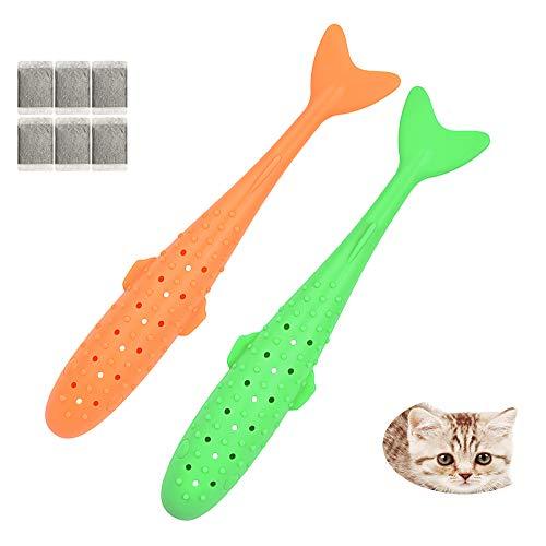WDsunshine kattleksaker kattmynta leksaker tugga tänder rengöring, katt tandborste fiskleksak, mjuk silikon säker hållbar kattunge leksaker, släpp stress för katt kattunge kattunge, 2-pack (orange grön)
