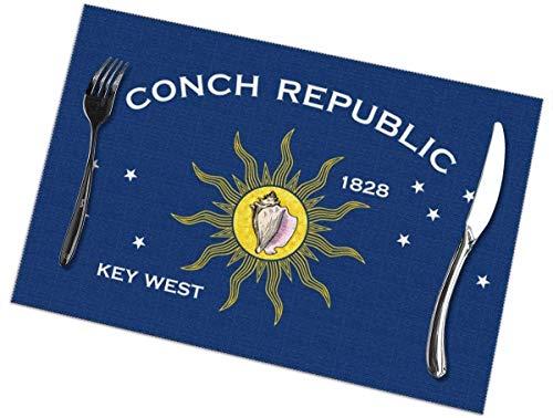 Flag of Key West Print - Manteles Individuales para Mesa de Comedor Juego de 6 tapetes de Cocina Antideslizantes, duraderos y fáciles de Limpiar Tapetes de café