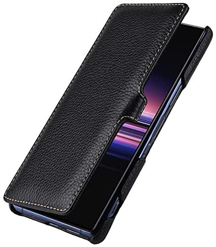 StilGut Book Hülle kompatibel mit Sony Xperia 5 II Hülle aus Leder mit Clip-Verschluss, Lederhülle, Klapphülle, Handyhülle - Schwarz