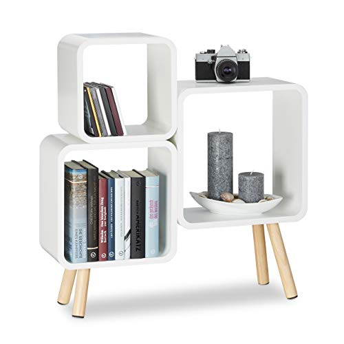 Relaxdays Regalsystem Cube mit 4 Beinen, Bücherregal Holz, Würfelregal im Retro Design, MDF, HBT: 70 x 67 x 20 cm, weiß