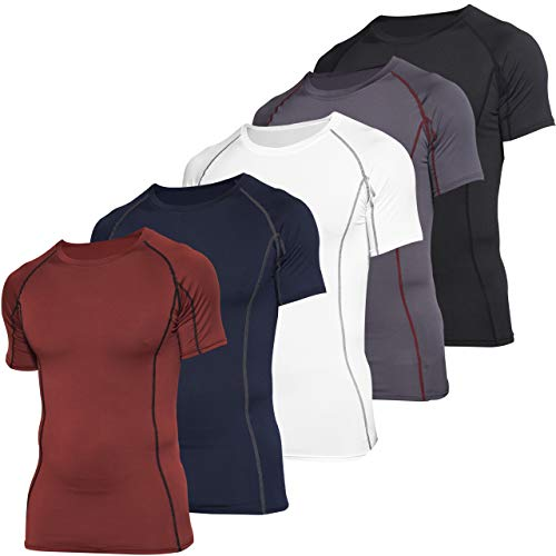5 Pack: 5 Pack: Mens Short Sleeve Compression Shirt Base Layer Thermal Slimming Undershirt Activewear Training Athletic Crew T-Shirt Quick Dry Fit Workout Fitness Gym Running Top,Set 2,XXL