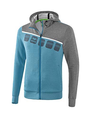 ERIMA Kinder Jacke 5-C Trainingsjacke mit Kapuze, oriental blue melange/grau melange/weiß, 128, 1031906