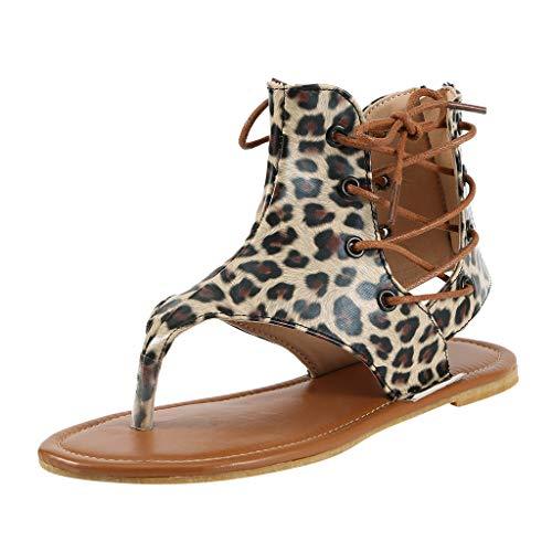 Felicove Damen Sandalen, Damen Sommer Leopard Schlangenmuster Clip-Toe Reißverschluss Casual Flats Bequeme Sandalen