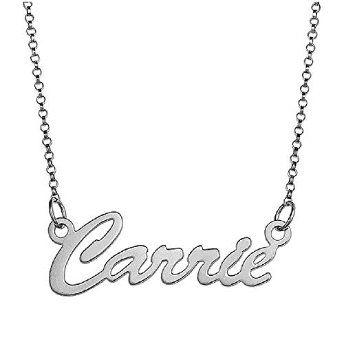 "PicturesOnGold.com Silver Name Necklace - Personalized Custom Silver Name Necklace with 18"" Chain (Any Name or Word is Available)"