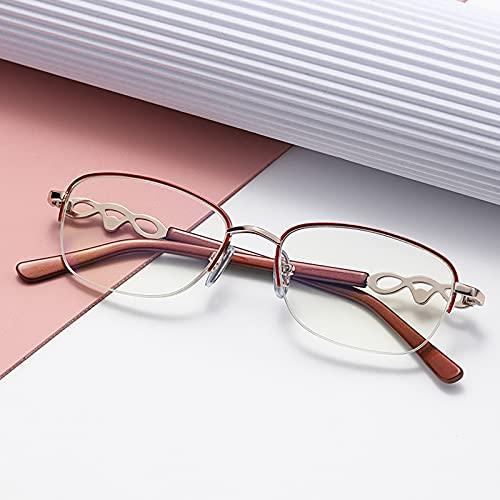 Gafas de Lectura de Moda para Mujer,Medio Marco de Metal Rojo,Lentes Anti-Azules,Ligeras y Cómodas,Cabeza de Pila Tallada,Gafas Elegantes +1.50