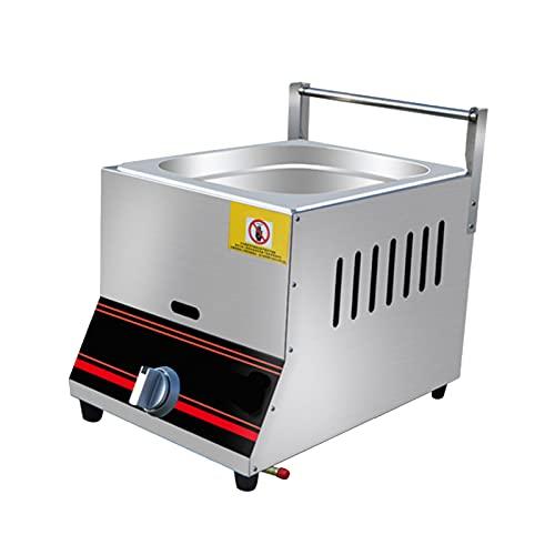 Freidora de gas profesional, freidora de gas 6L/12L tanque de acero inoxidable con cuchara de cesta para restaurante comercial, cocina casera