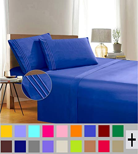 1500 Thread Count Wrinkle & Fade Resistant Egyptian Quality 3-Piece Bed Sheet Set Ultra Soft Luxurious Set Includes Flat Sheet, Fitted Sheet and 1 Pillowcase, Twin/Twin XL, Brilliant Blue