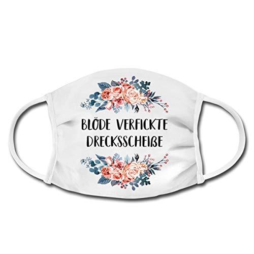 Spreadshirt Blöde Verfickte Drecksscheiße Blumen Mund-Nasen-Bedeckung, Weiß