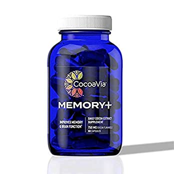 CocoaVia Memory+ Brain Supplement, Clinically Proven Memory and Brain Booster, Plant Based Supplement, Sugar Free, Gluten Free, Vegan, 750 mg Cocoa Flavanols Capsules