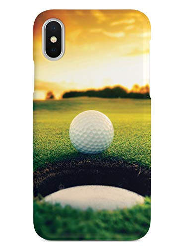 Inspired Cases - 3D Textured iPhone X/Xs Case - Rubber Bumper Cover - Protective Phone Case for Apple iPhone X/Xs - Golf Ball Sunset