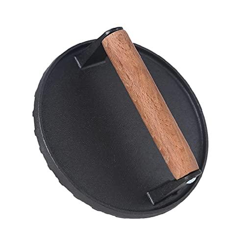 Prensa redonda para tocino hecha de hierro fundido, prensa para tocino con de madera, prensa para sándwiches y parrilla, prensa para hamburguesas, para deliciosas hamburguesas, empanadas, acceso