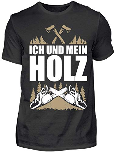 HOLZBRàœDER  Holz T-Shirt - Ich und Mein Holz - Wald - Kettensäge - Fichten , Schwarz, L
