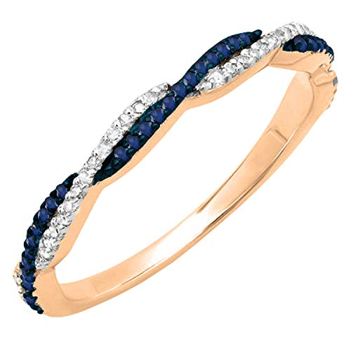 14k Gold Round Diamond and Blue Sapphire Ring
