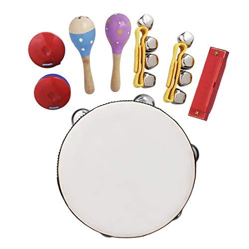 ACAMPTAR 8 Piezas / Conjunto Juguetes Musicales Instrumentos Orff Sets Kit de Ritmo de Banda Incluyendo Pandereta Maracas CastaaUelas Campanas de Mano ArmóNica para NiiOs