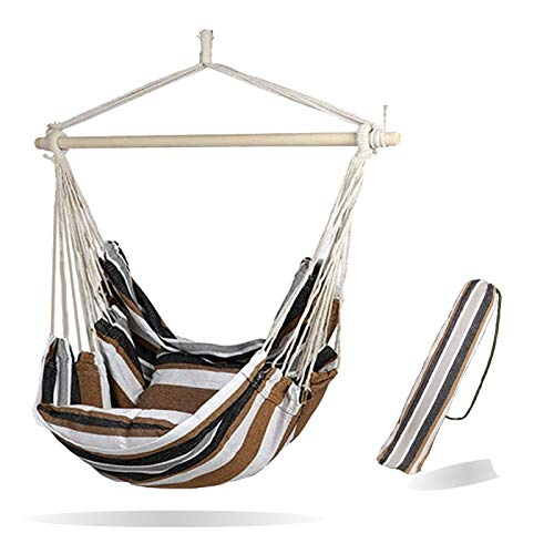 Morsun Hammock Chairs Hanging Rope Swing-Max 320 Lbs Patio Porch Yard Tree Hanging Air Swing Outdoor Pocket Quality Cotton Weave for Superior Comfort & Durability(Coffee)