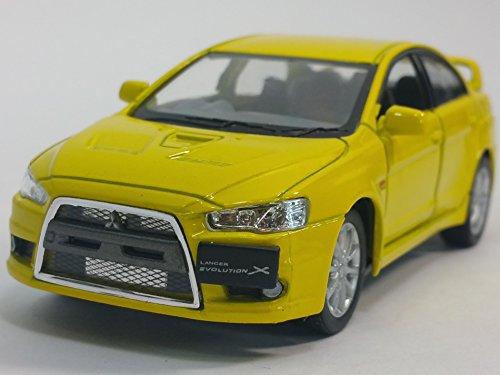 Kinsmart Canary Yellow 2008 Mitsubishi Lancer Evo Evolution X 1/36 Scale Diecast Car
